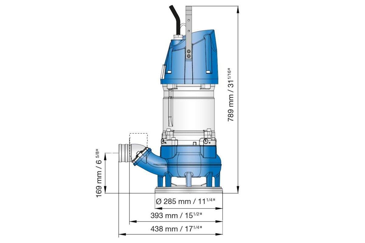 Dimension drawing of submersible sludge pump XJS 50 and XJS 80