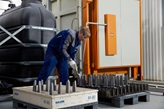 Sulzer Specialist in Ekaterinburg Service Center is preparing Gas Turbine blades for loading into the heat treatment furnace