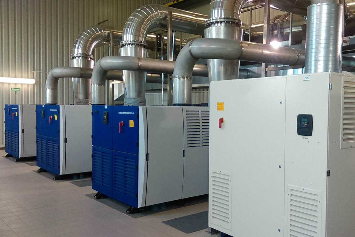 HST™ turbo blowers with magnetic bearing in a compressor room at a wastewater treatment plant