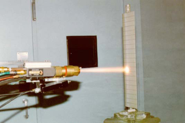 A gun spraying with the High Velocity Oxygen Fuel Spraying (HVOF) technology