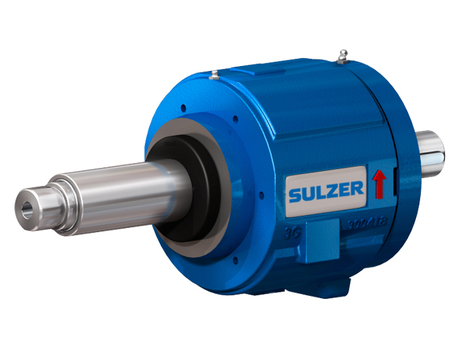 Bearing assembly with a Sulzer logo