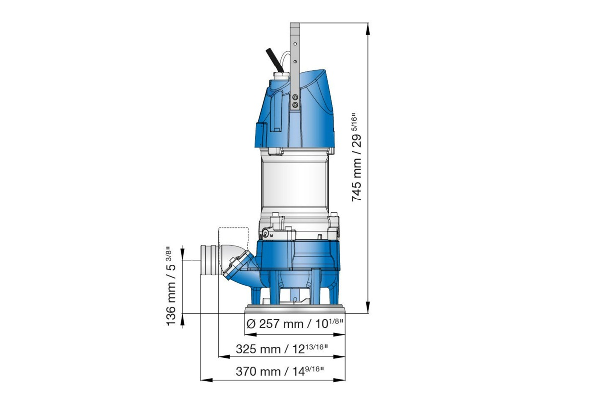 Dimension drawing of Submersible sludge pumps XJS 25 and XJS 40