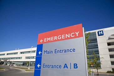 Emergency entrance of hospital.